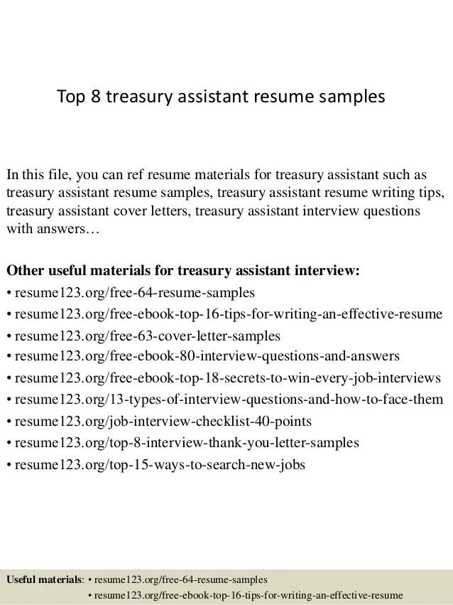 treasury job resume samples