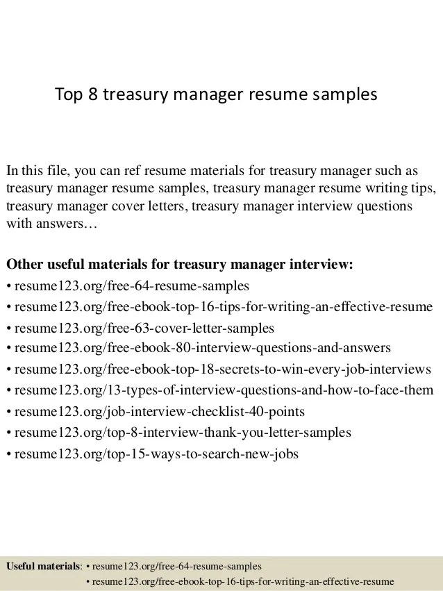 Top 8 treasury manager resume samples