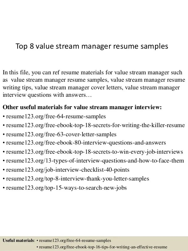 Top 8 value stream manager resume samples