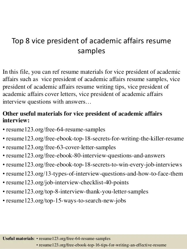 Top 8 Vice President Of Academic Affairs Resume Samples