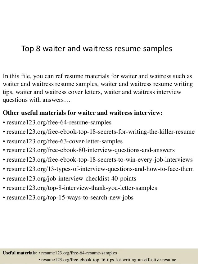 Waitress Resume Example Objective For Waitress Resume Waitress  Resume For Waiter