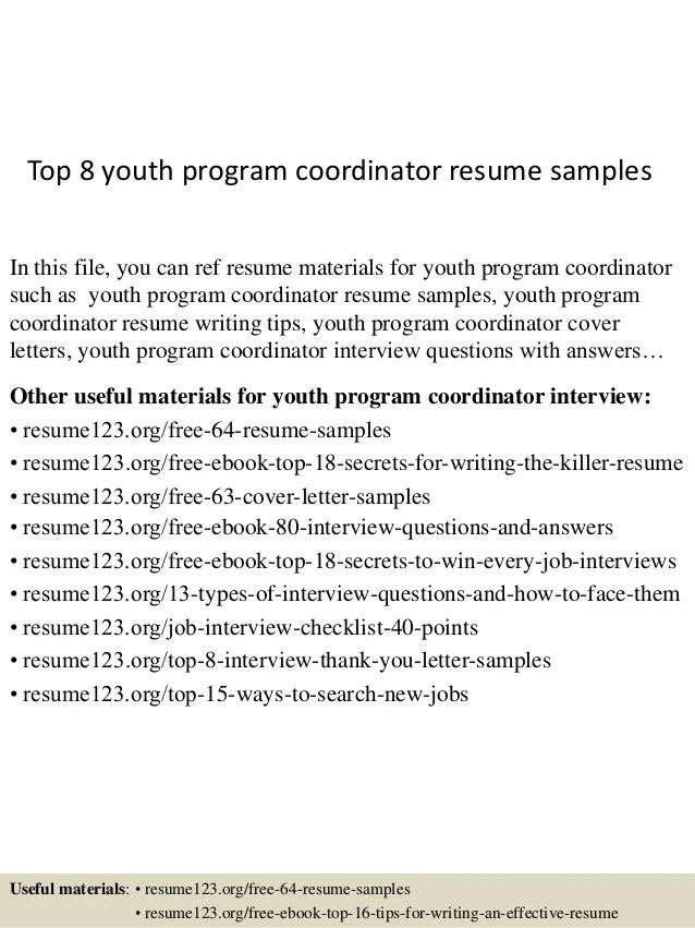 Top 8 youth program coordinator resume samples