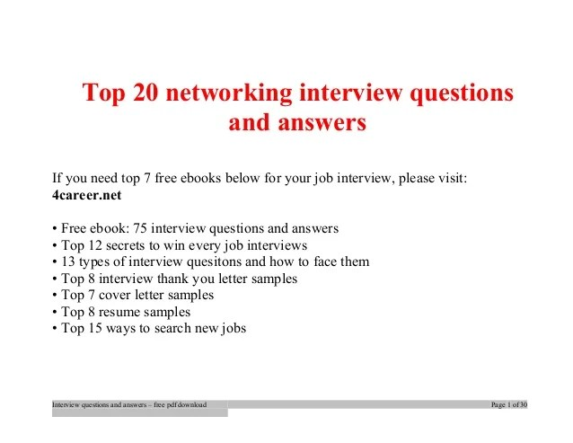 Top Networking Interview Questions And Answers Job