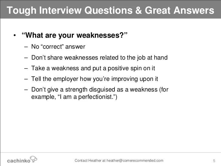 interview weakness examples