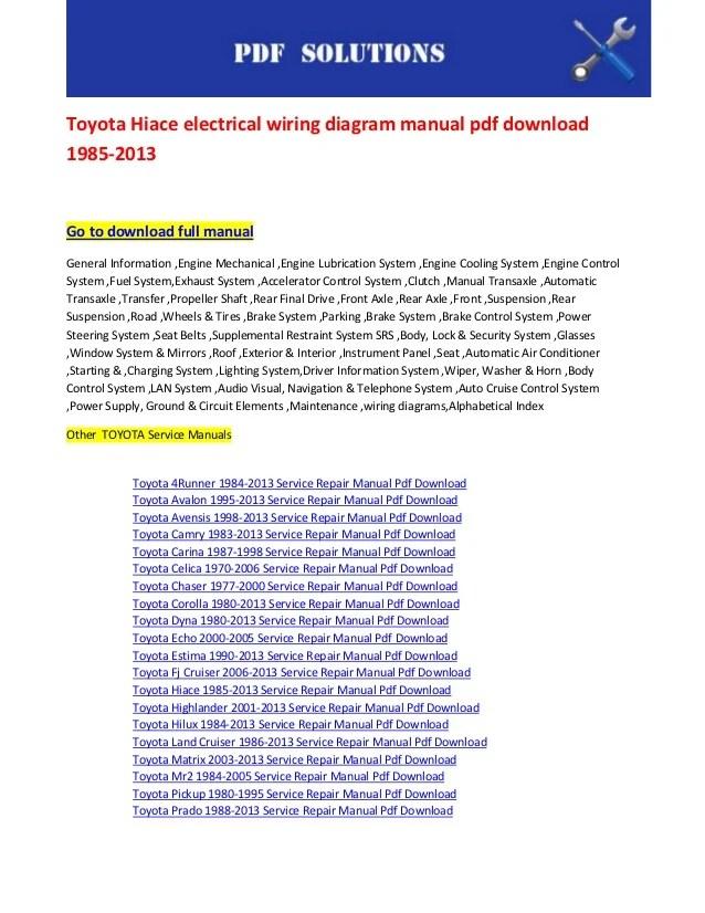 toyota hiace wiring diagram 8n tractor electrical manual pdf download 1985 2013