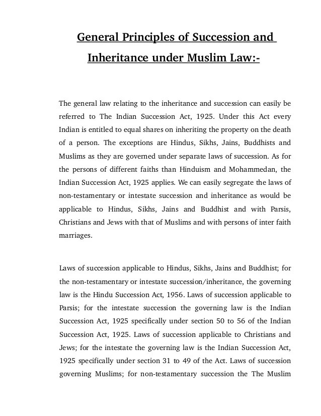 General principles of succession and inheritance under muslim law the relating to also rules   rh slideshare