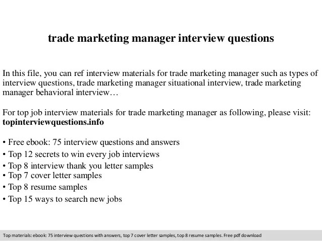 Trade marketing manager interview questions