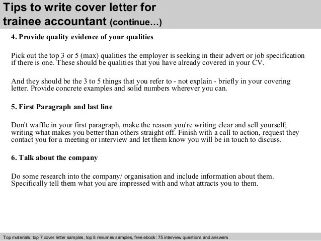 Sample Cover Letter For Trainee Accountant Job ...