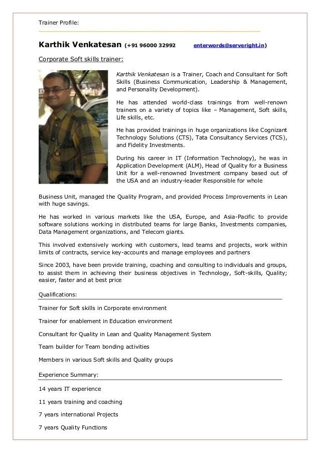 Soft Skill Trainer Karthik Venkatesan Profile
