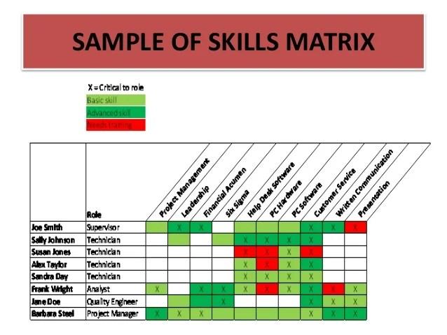 Sample of skills matrix also training needs analysis auditing and roi presentatio  rh slideshare