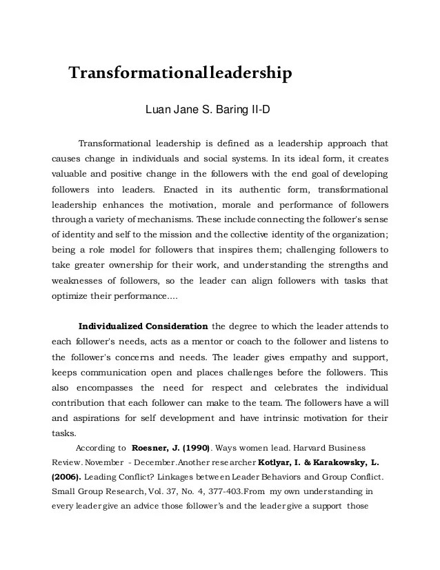 Being A Leader Essay Transformational Leadership Final Essay Best