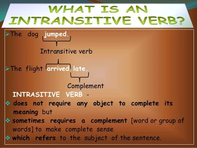 English Verbs Intransitive