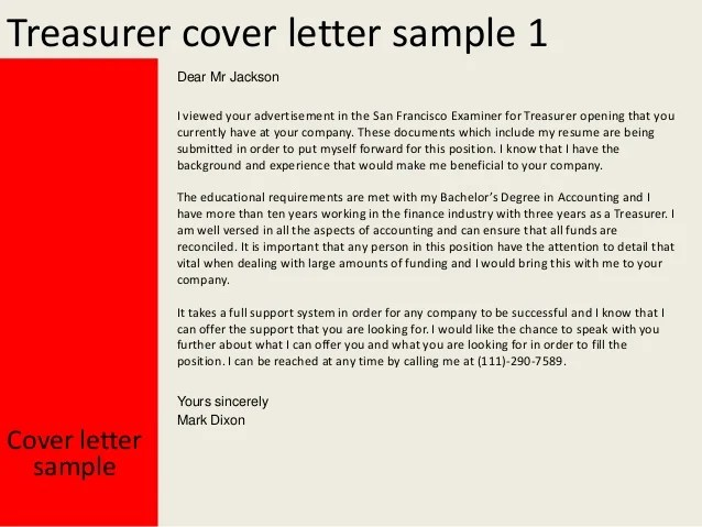 Treasurer Cover Letter