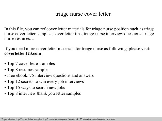 Triage nurse cover letter