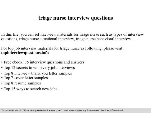 Triage nurse interview questions