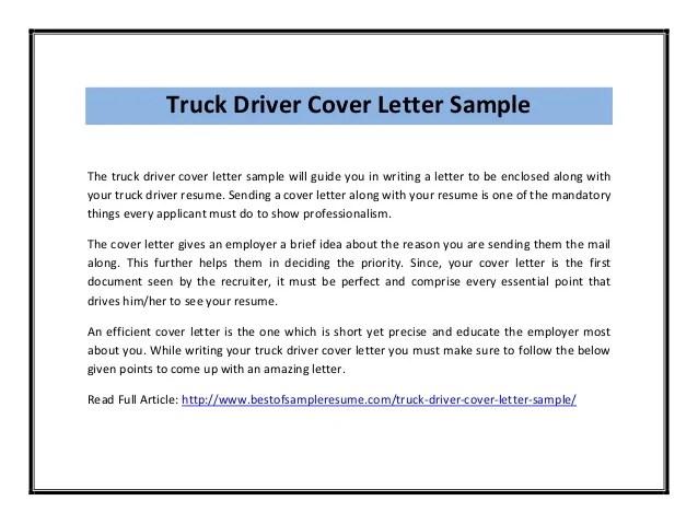 Truck driver cover letter sample pdf