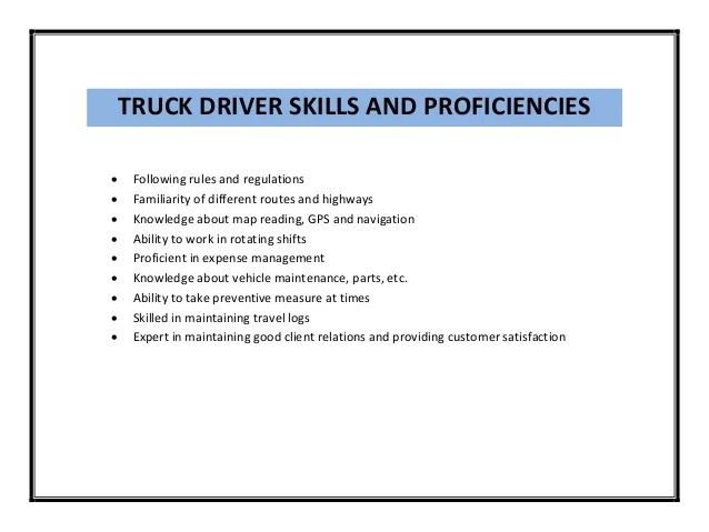 Resume Sample Resume Driving Skills skills for truck driver resume sample  pdf