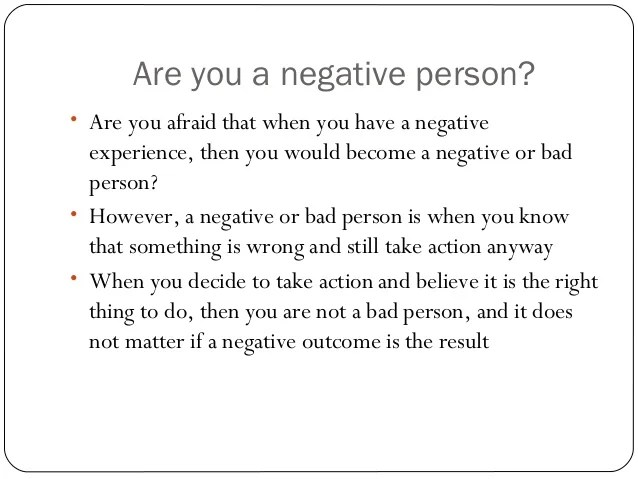 What is the true meaning of a negative experience?