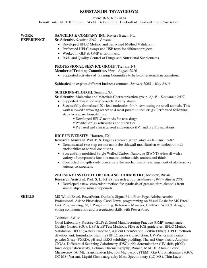 Resume For Senior Chemist Free Downloadable Resume Templates