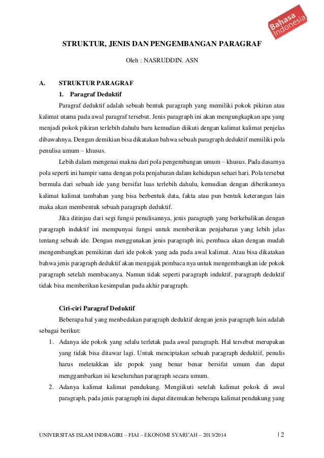 Jenis Pengembangan Paragraf : jenis, pengembangan, paragraf, Struktur,, Jenis, Pengembangan, Paragraf