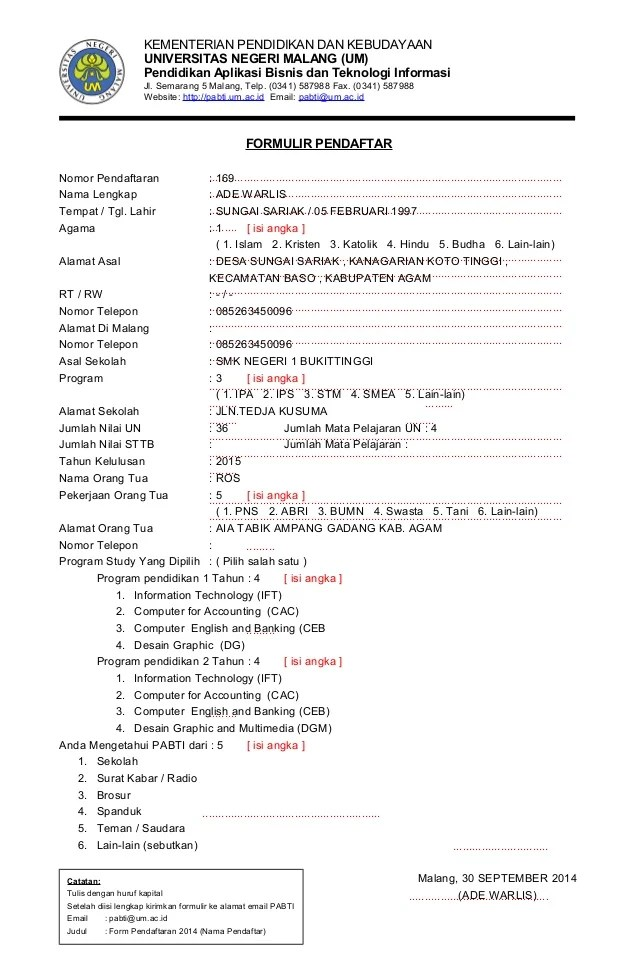 Contoh Formulir Pendaftaran Sekolah : contoh, formulir, pendaftaran, sekolah, CONTOH, FORMULIR, PENDAFTARAN, PERGURUAN, TINGGI