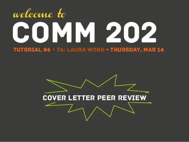 Lauras Tutorial 6  Cover Letter Peer Review
