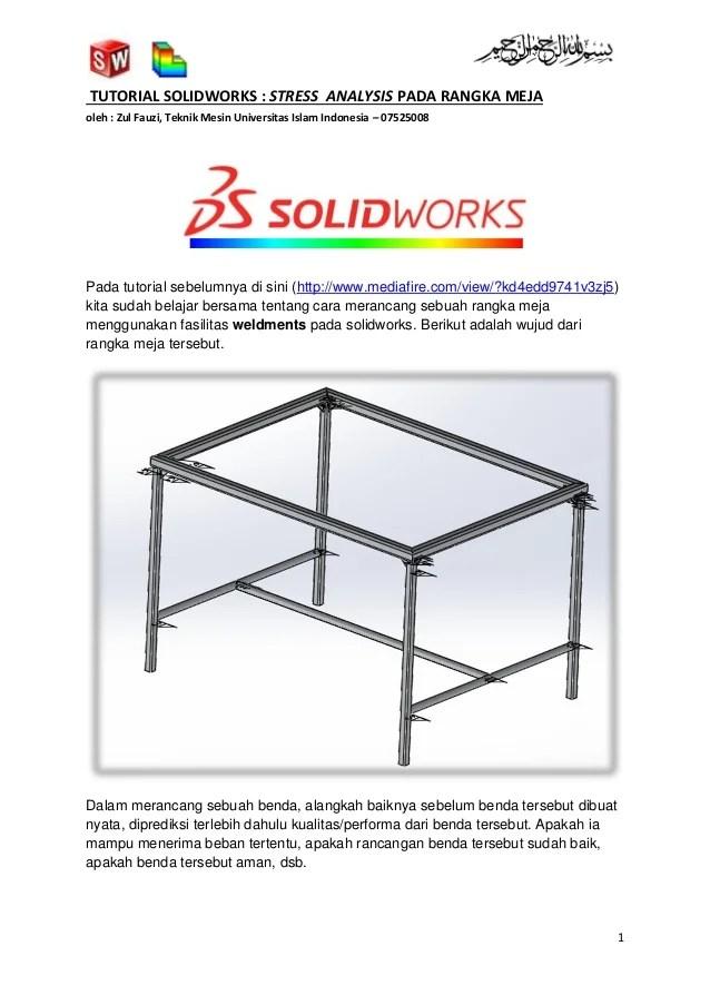 Tutorial solidworks stress analysis pada rangka meja