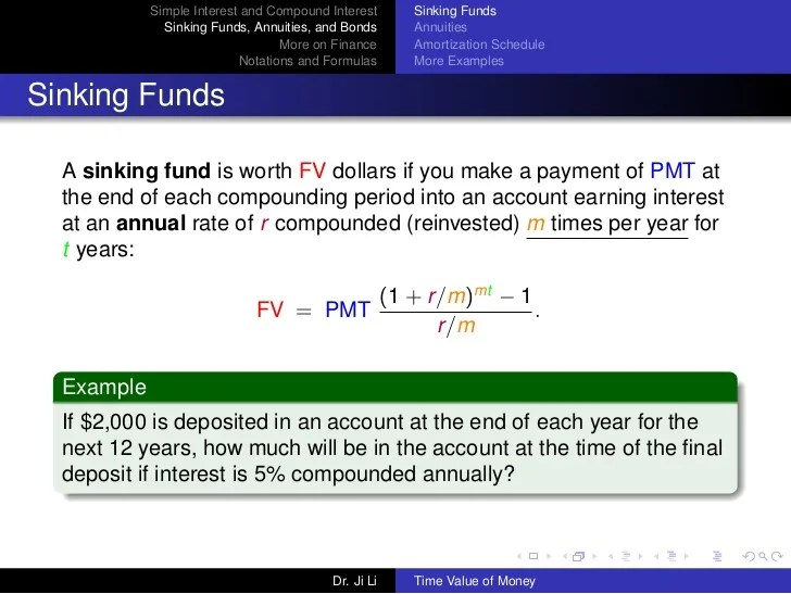 Amortization And Sinking Fund Sinking Fund Retirement Of