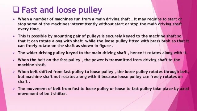 Fast And Loose Pulley Drive