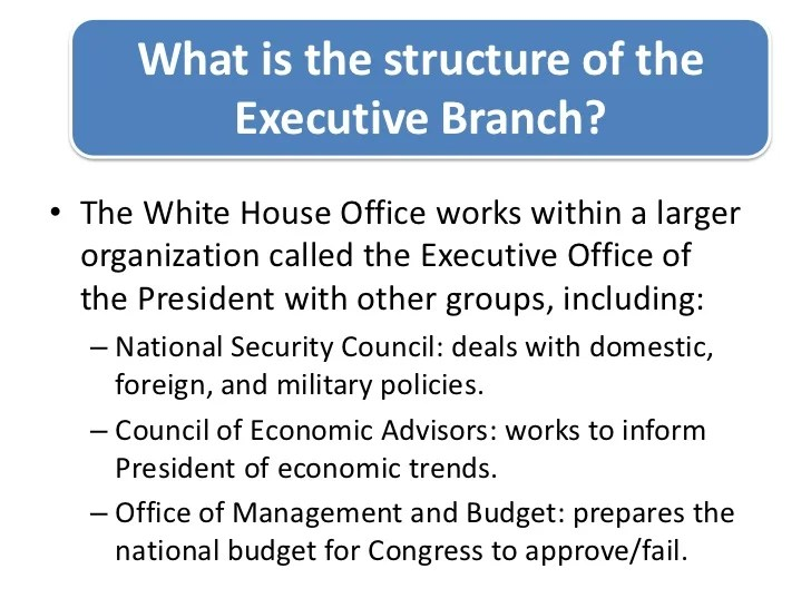what is the structure also  lp ructureoftheexecutivebranch rh slideshare