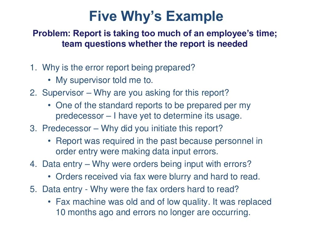 Five Why S Example Problem Report