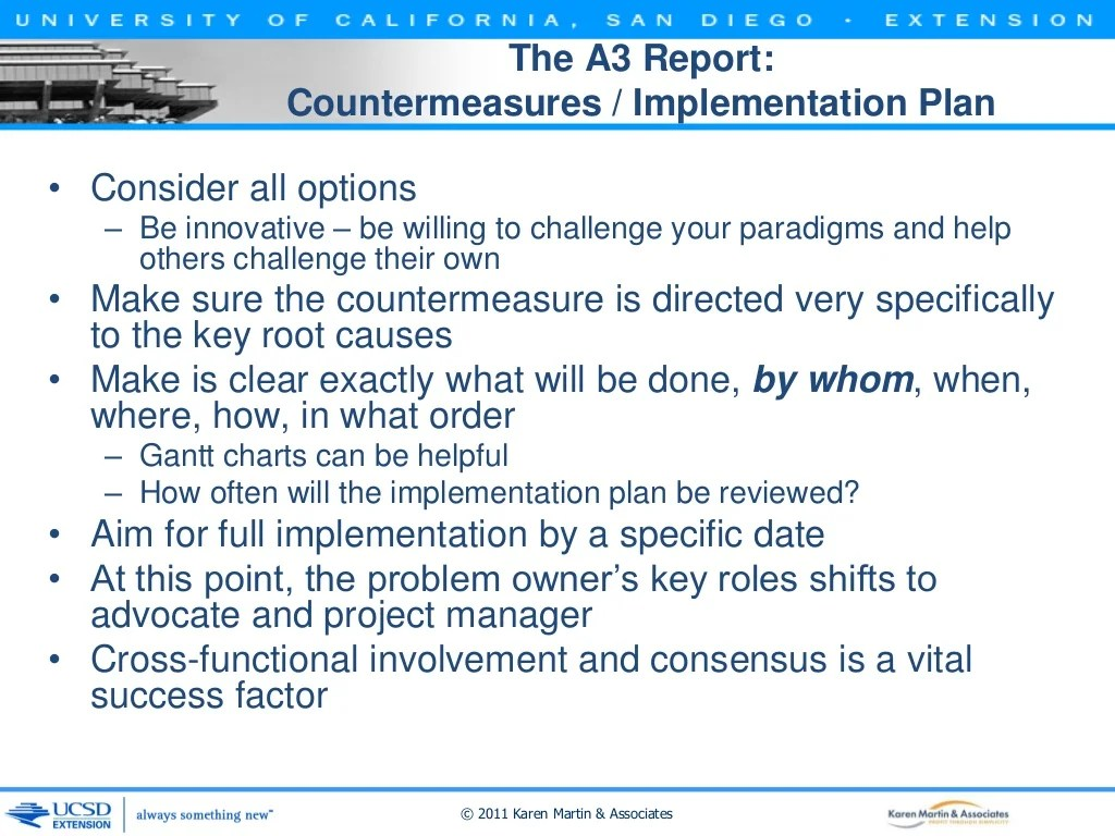 The A3 Report Countermeasures