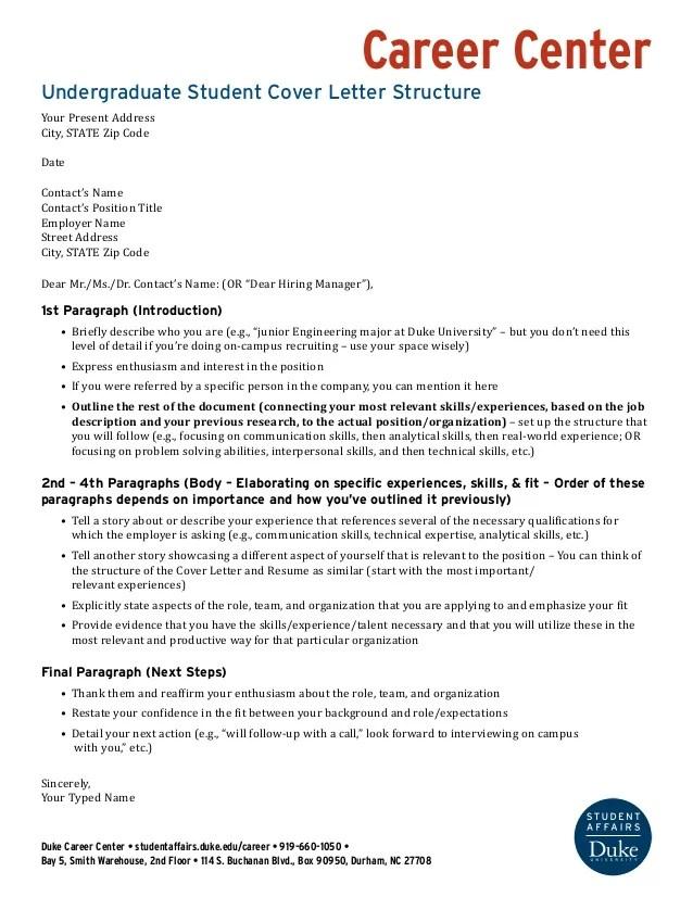 Undergraduate Cover Letter Structure Wells Fargo