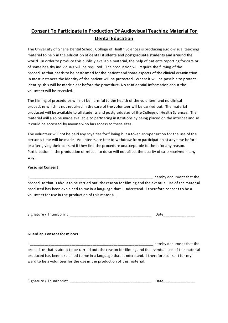 University Of Ghana Patient Consent Form For Recording For OER