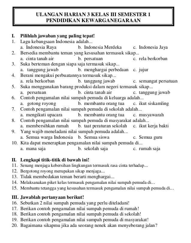 Soal Uts Bahasa Jawa Kelas 3 Semester 2 : bahasa, kelas, semester, Contoh, Ulangan, Harian, Bahasa, Indonesia, Kunci, Sukses