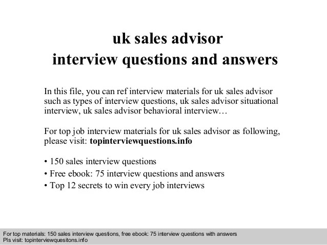 Uk S Advisor Interview Questions And Answers