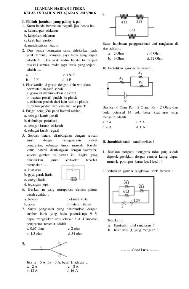 Soal Listrik Dinamis Kelas 12 : listrik, dinamis, kelas, Ulangan, Listrik, Dinamis, Kelas, Helmi, Kediris
