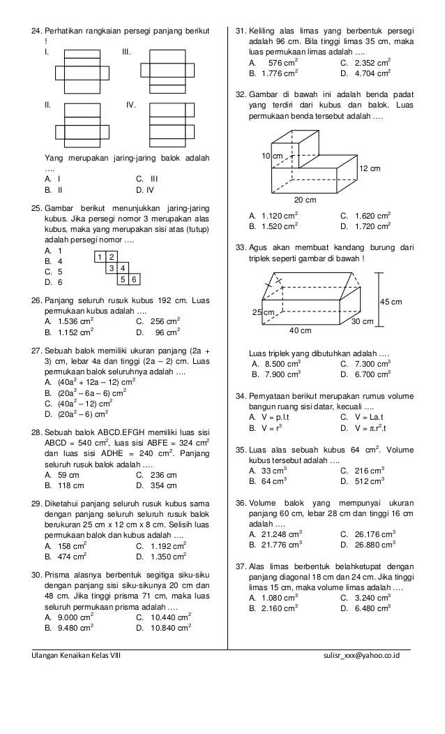Contoh Soal Jaring-jaring Kubus Dan Balok Kelas 5 Sd : contoh, jaring-jaring, kubus, balok, kelas, Contoh, Jaring, Kubus, Balok, Kelas, Materi, Pelajaran