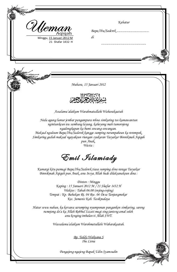 Contoh Undangan Syukuran Pernikahan Bahasa Sunda Contoh