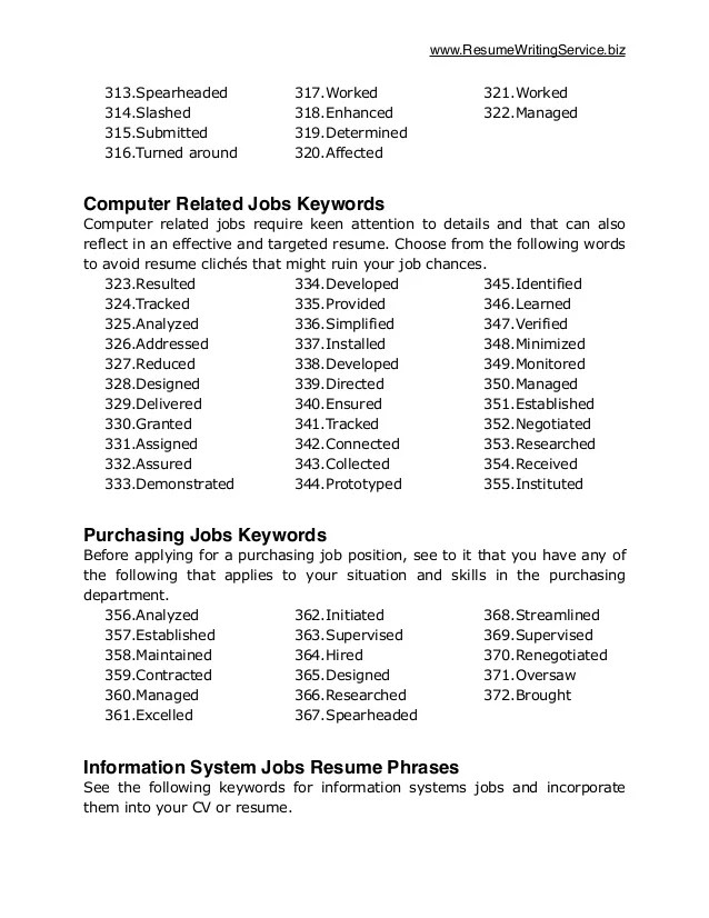 resume keywords to avoid