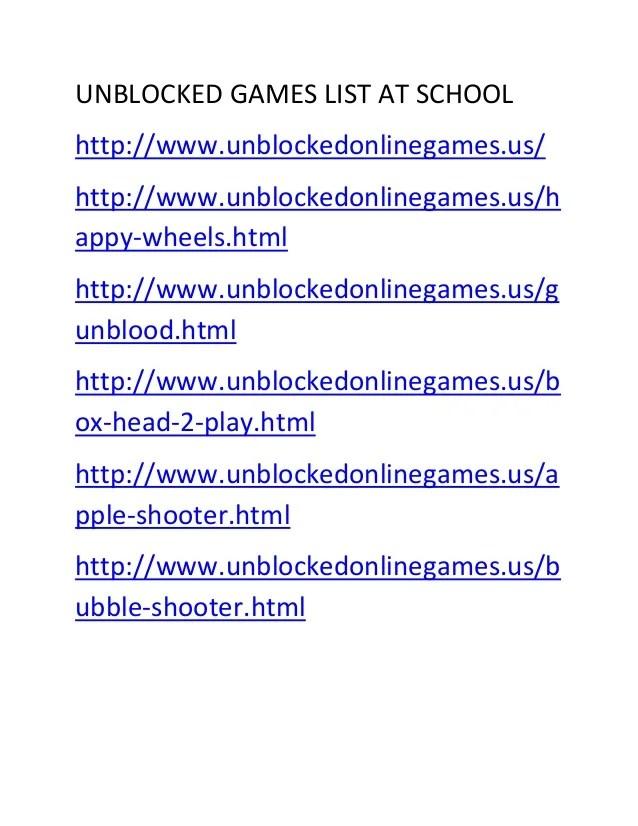 Unblocked Games List At School