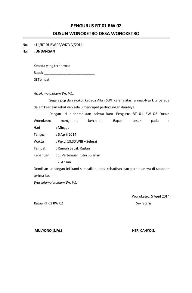 Contoh Undangan Rt : contoh, undangan, Undangan, Rapat