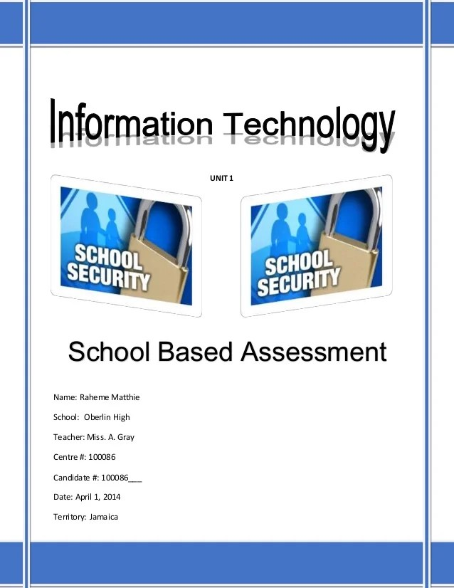 CAPE Information Technology Unit 1  Sample SBA