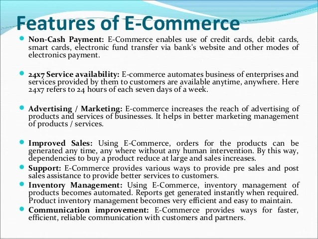 features of e commerce