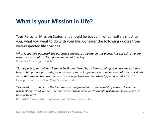 good personal mission statements