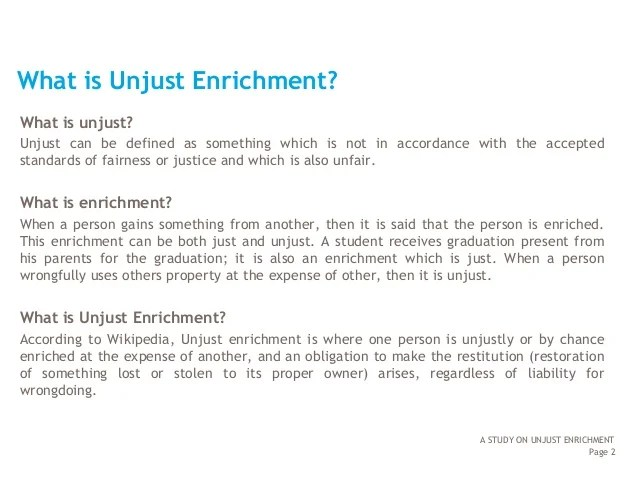Image result for principle of unjust enrichment, MEANS