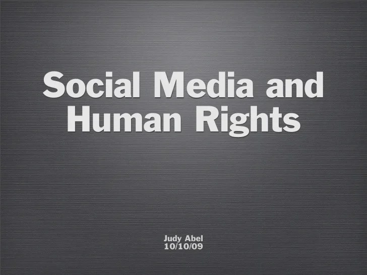 Social Media and Human Rights
