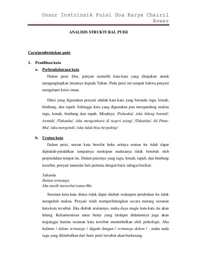 Doa Karya Chairil Anwar : karya, chairil, anwar, Unsur, Instrinsik, Puisi