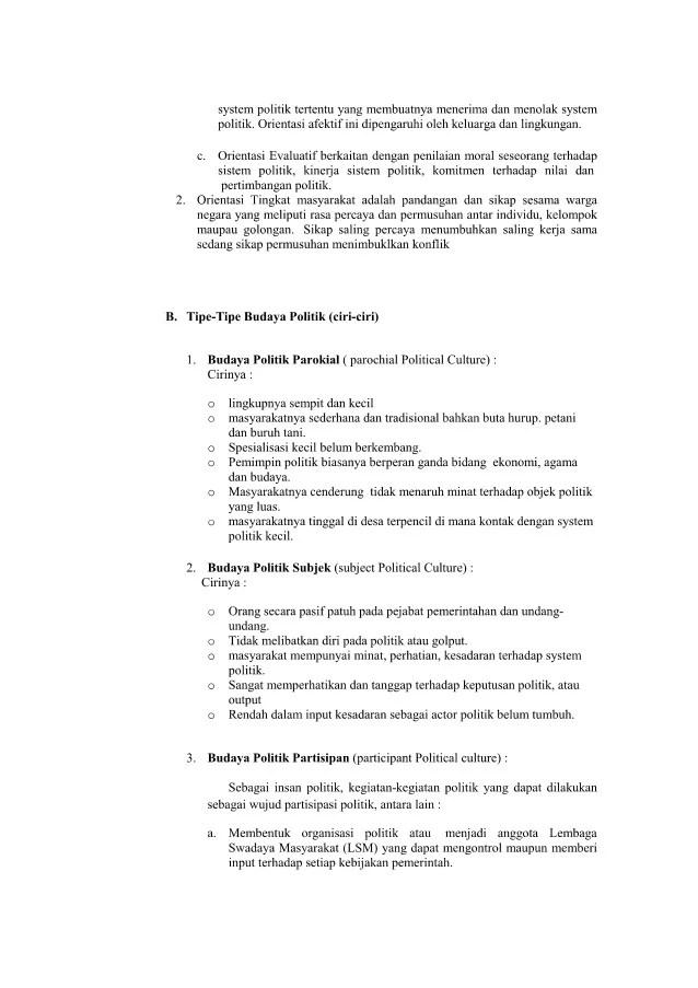 Ciri Budaya Politik Subjek : budaya, politik, subjek, Budaya, Politik