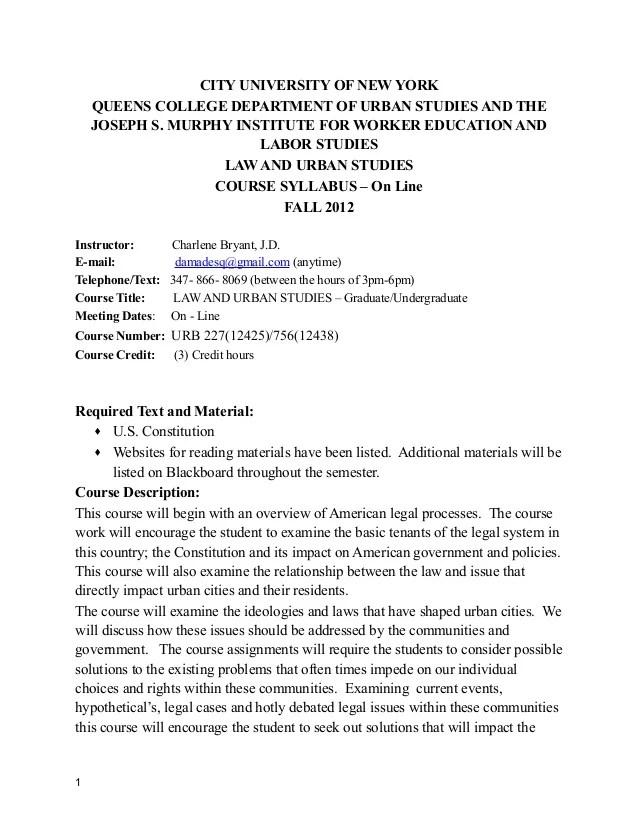 Urbst 227 Law Urban Studies Syllabus Fall 2012 Queens College